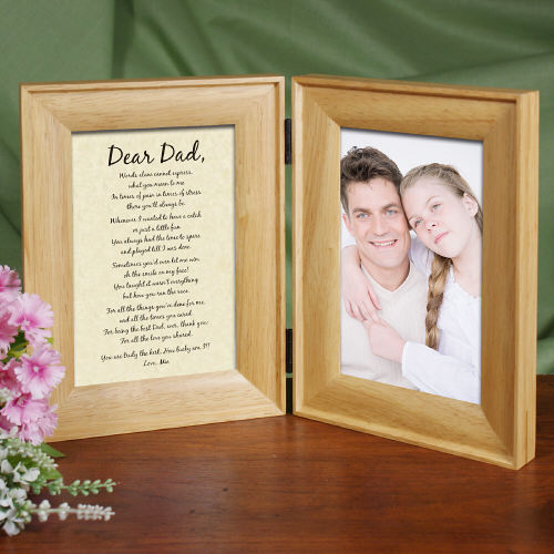 To My Dad... Natural Wood Bi-Fold Personalized Picture Frame | Dad Picture Frames