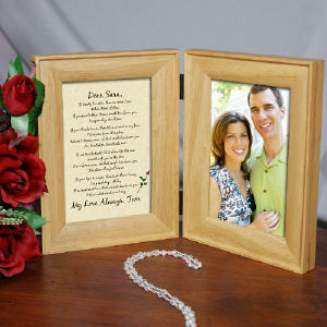 To My Love... Natural Wood Bi-Fold Personalized Picture Frame