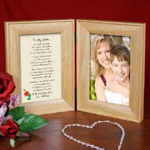 To My Mom Natural Wood Bi-Fold Personalized Picture Frame |  Happy Mother's Day Photo Frame