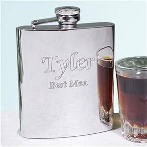 Bright Finished Silver Personalized Flask | Personalized Groomsman Flasks