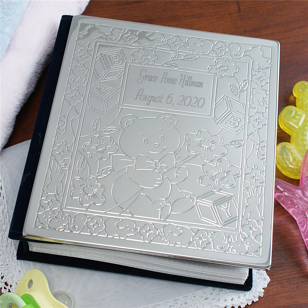 New Baby Bear Silver Photo Album | Engraved Baby Gifts