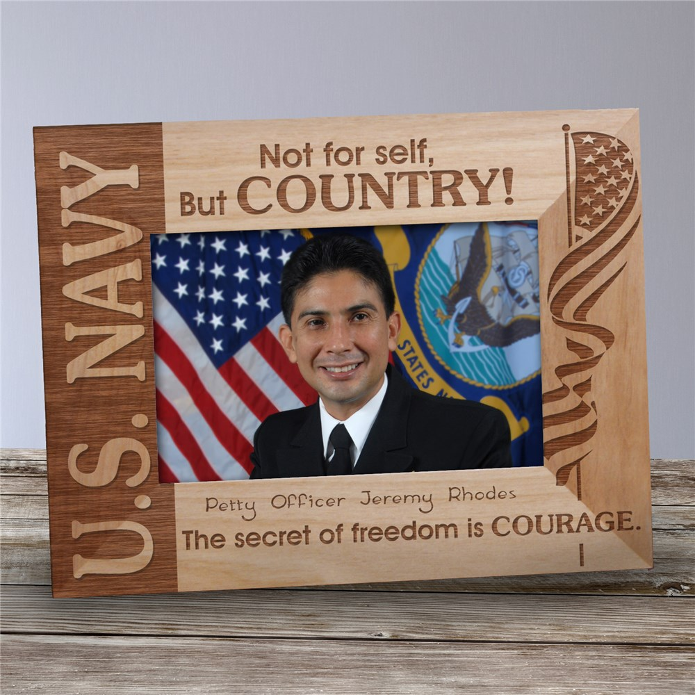 Personalized U.S. Navy Wood Picture Frame | Personalized Wood Picture Frames