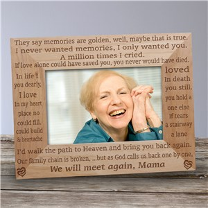 We Will Meet Again Memorial Wood Picture Frame | Personalized Wood Picture Frames