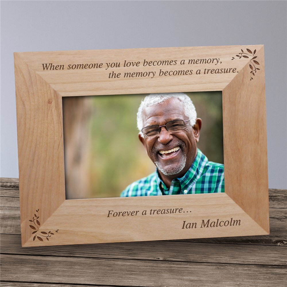 Memory Becomes A Treasure Memorial Wood Picture Frame | Personalized Wood Picture Frames