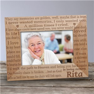 In Loving Memory Memorial Wood Picture Frame | Personalized Wood Picture Frames