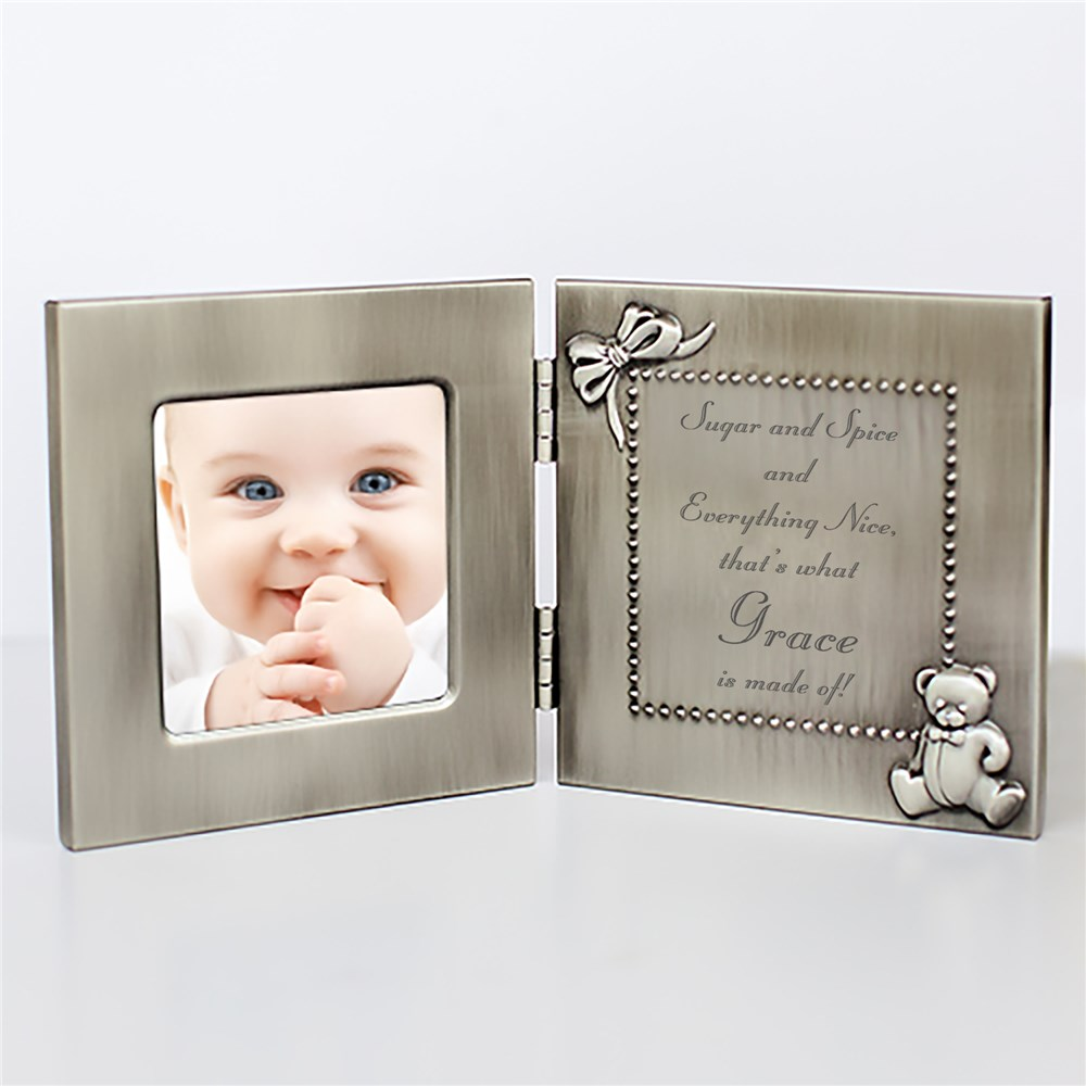 Beautiful Butterfly Personalized Silver Photo Frame | Personalized Baby Frames