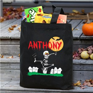 Dancin' Skeleton Trick or Treat Bag | Personalized Trick-Or-Treat Bags