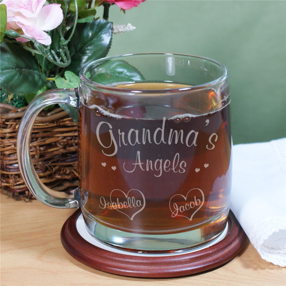 Angels of My Heart Personalized Glass Mug | Mother's Day Cups