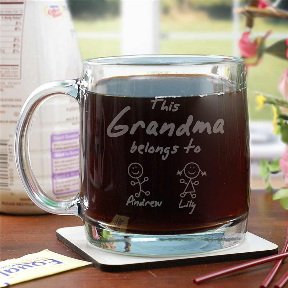 Engraved Belongs To Glass Mug | Personalized Grandma Gifts