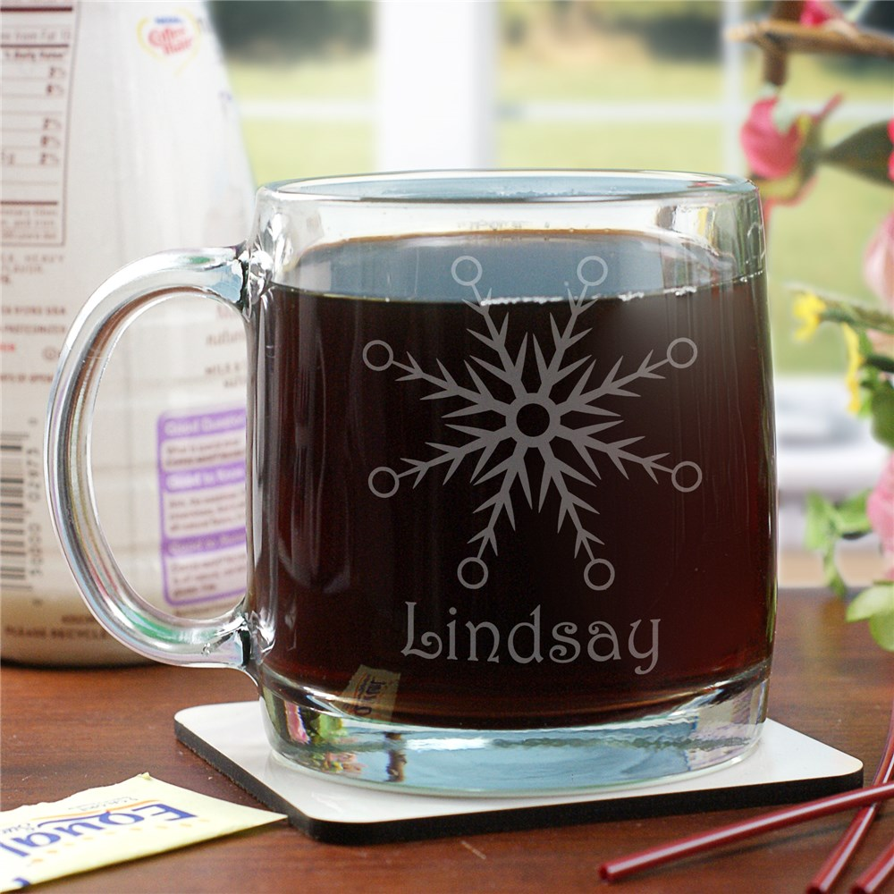 Engraved Snowflake Glass Mug G279880