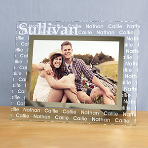 Engraved Family Name Glass Frame | Dad Frames