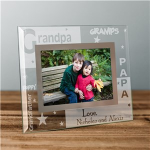 Engraved Grandpa Glass Frame | Personalized Grandpa Gifts
