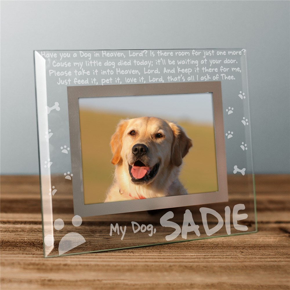 Engraved Dog Memorial Glass Picture Frame | Personalized Picture Frames