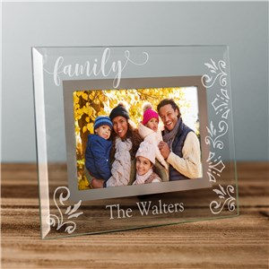 Personalized Decorative Family Name Glass Frame | Personalized Family Frame