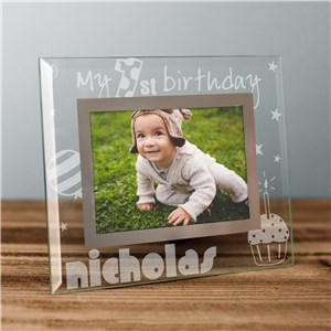 Engraved First Birthday Glass Picture Frame | Personalized Picture Frames