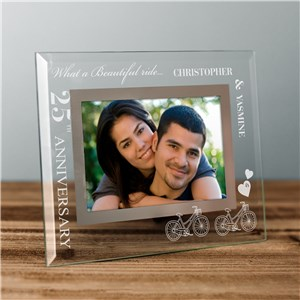 Customized Glass Picture Frames | Glass Anniversary Frame For Bike Riders