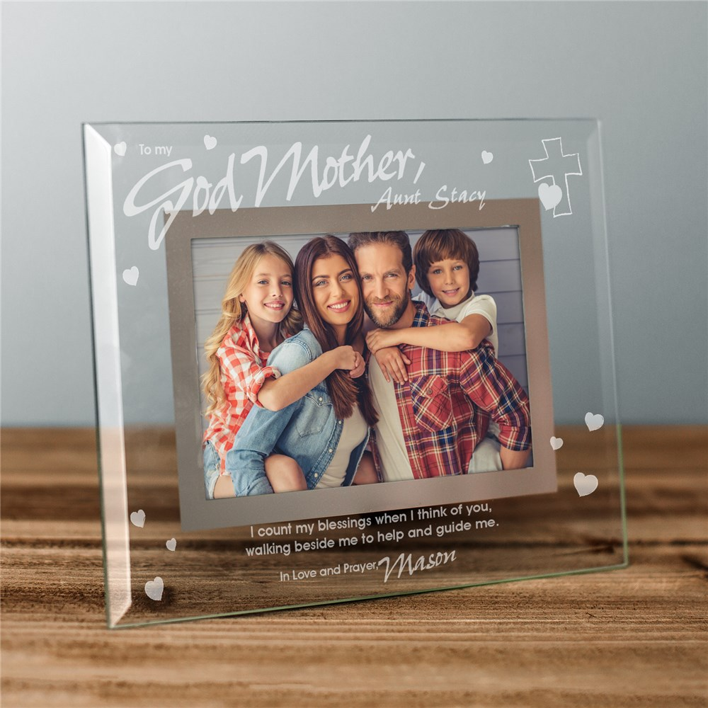 Godparent Glass Personalized Picture Frame | Personalized Baptism Frames