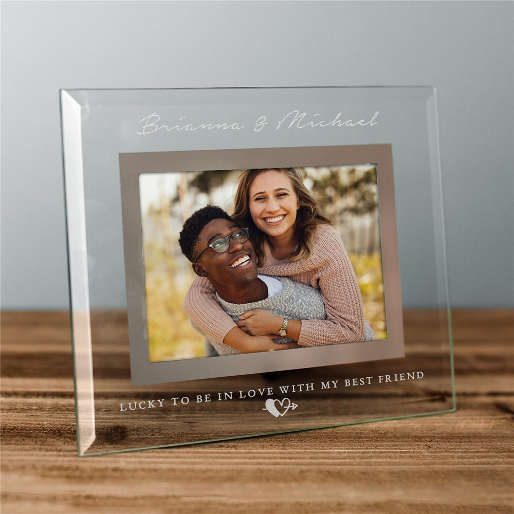 Engraved Lucky To Be In Love Glass Frame