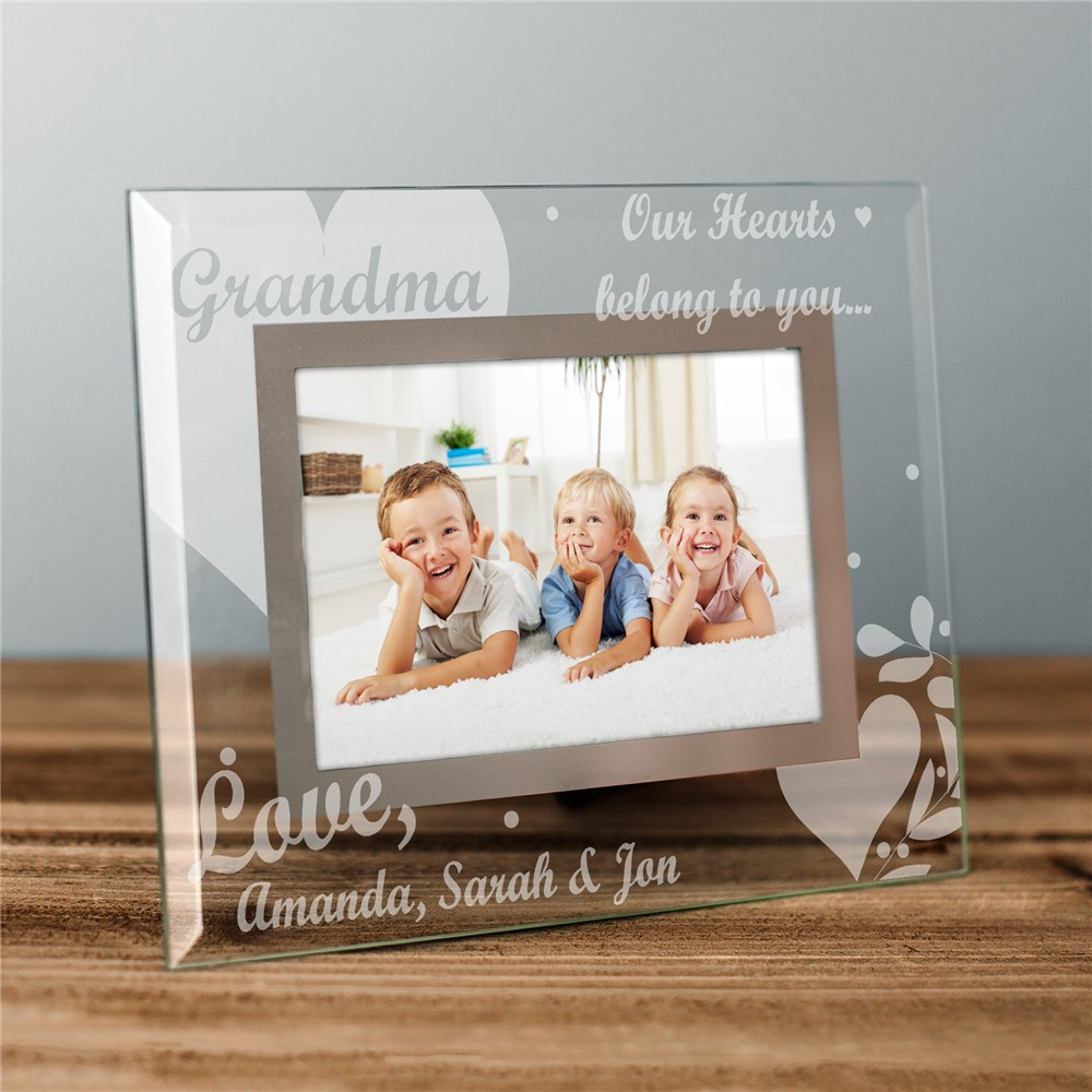Engraved Our Hearts Belong To Glass Picture Frame | Engraved Picture Frames