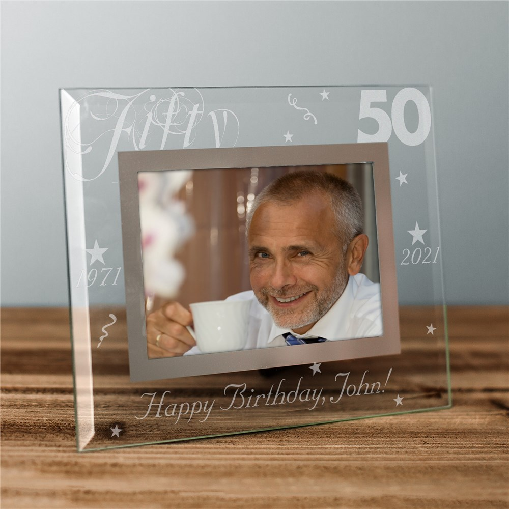 Engraved Birthday Glass Picture Frame | Personalized Frame