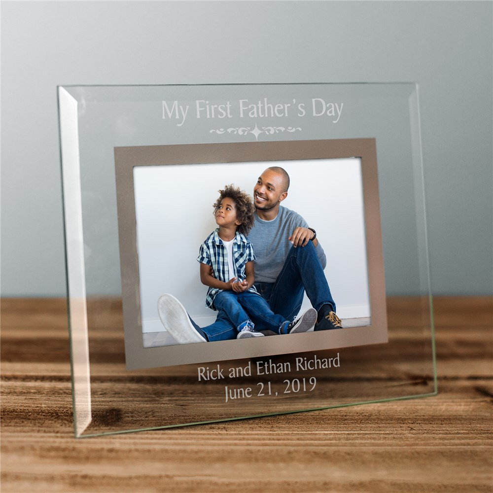 Engraved First Fathers Day Glass Picture Frame | First Time Dad Father's Day Gifts