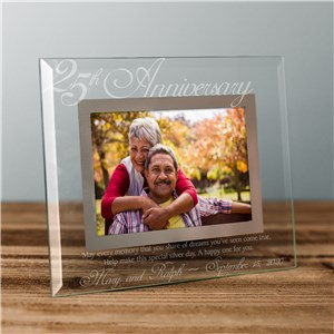 25th Anniversary Glass Picture Frame | Personalized Picture Frames