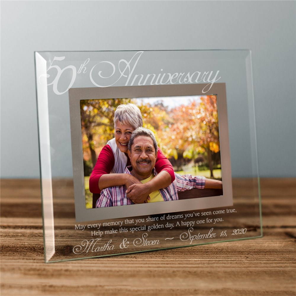 50th Anniversary Glass Picture Frame | Personalized Picture Frames