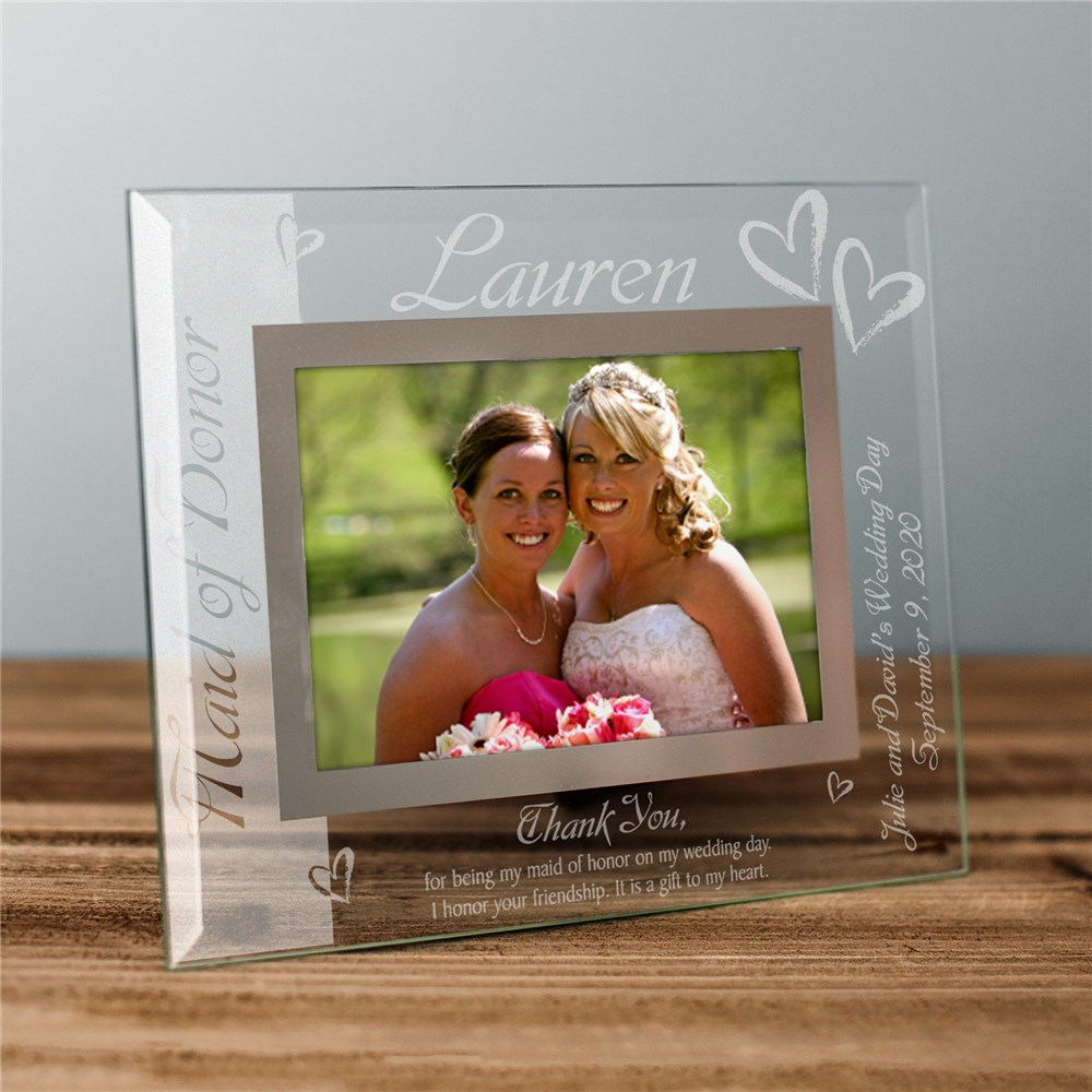 Maid of Honor Glass Picture Frame | Personalized Picture Frames