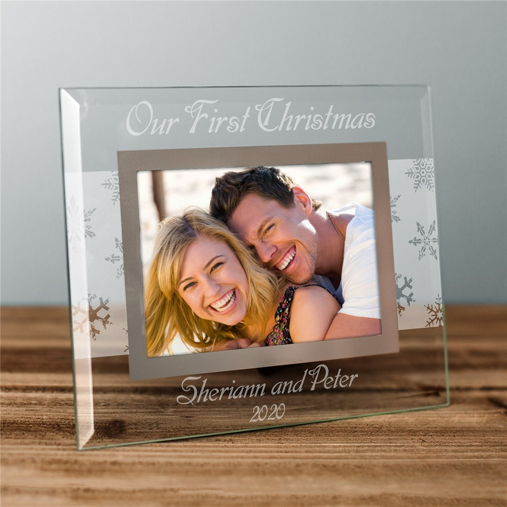 Our First Christmas Personalized Glass Picture Frame | Personalized Picture Frames