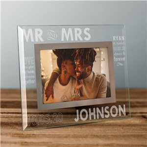 Engraved Mr. and Mrs. Glass Picture Frame | Personalized Picture Frames