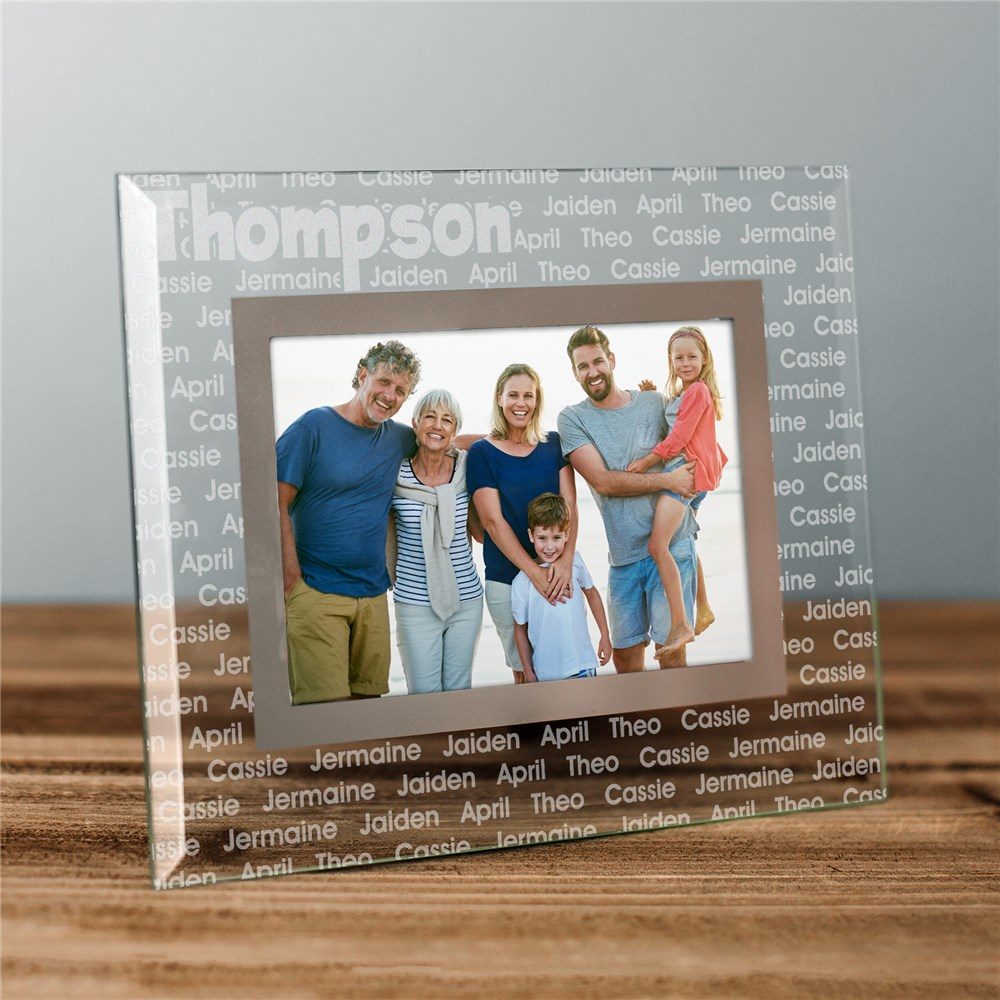 Family Name Personalized Glass Picture Frame | Personalized Picture Frames