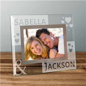 Engraved Loving You Glass Photo Frame | Personalized Valentines Frames