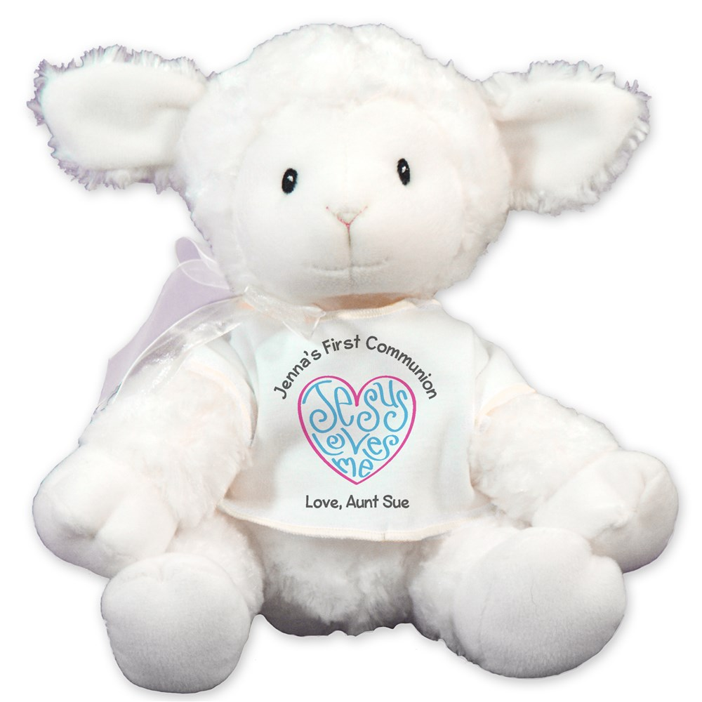 Personalized Jesus Loves Me Lamb | Personalized Stuffed Animals