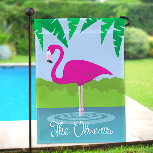 Personalized Pink Flamingo Garden Flag 83063222