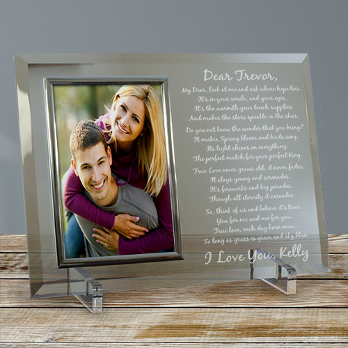 To My Love...Beveled Glass Picture Frame  | Personalized Valentines Frames