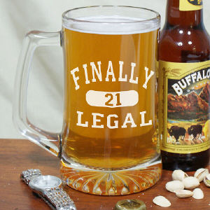 Finally Legal Personalized 21st Birthday Glass Mug