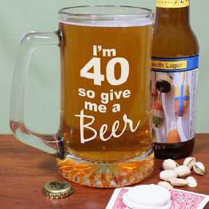 Give Me A Beer Personalized 40th Birthday Glass Mug