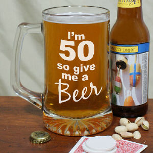 Give Me A Beer Personalized 50th Birthday Glass Mug