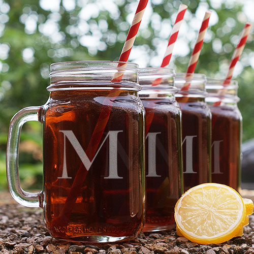 Engraved Initial Mason Jars - Set of 4 L765771