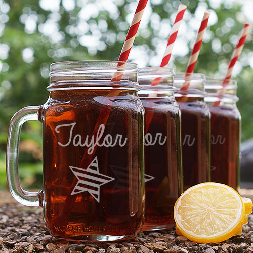 Engraved Star And Stripes Mason Jar Set L953371S