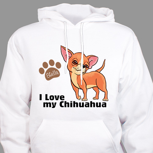 Personalized I Love My Chihuahua Hooded Sweatshirt H57070CHX