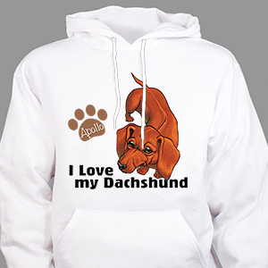Personalized I Love My Dachshund Hooded Sweatshirt H57070DCX