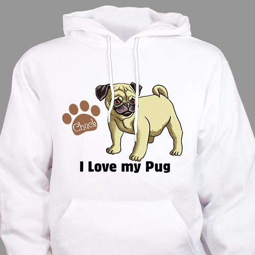 Personalized I Love My Pug Hooded Sweatshirt H57070PUGX