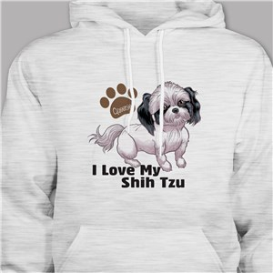 Personalized I Love My Shih Tzu Hooded Sweatshirt H57070STX