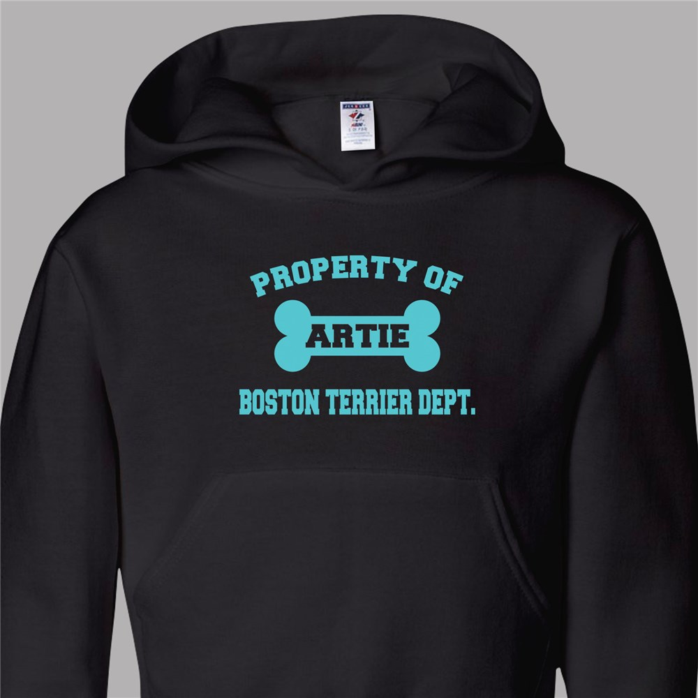 Personalized Property Of Dog Breed Youth Hooded Sweatshirt