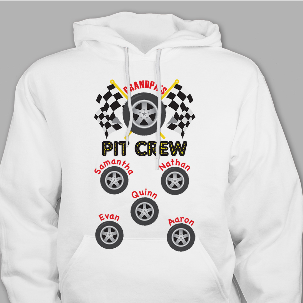 Custom Printed Pit Crew Hooded Sweatshirt | Dad Shirts