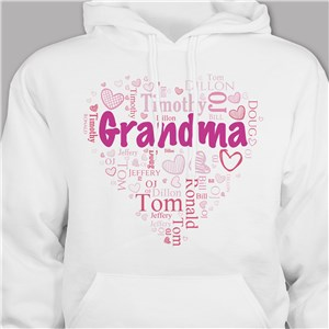 Grandma's Heart Word Art T-Shirt | Personalized Grandma Shirts