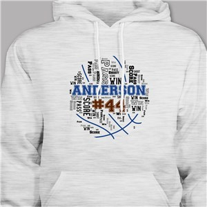 Personalized Basketball Word-Art Hooded Sweatshirt | Personalized Basketball Hoodies