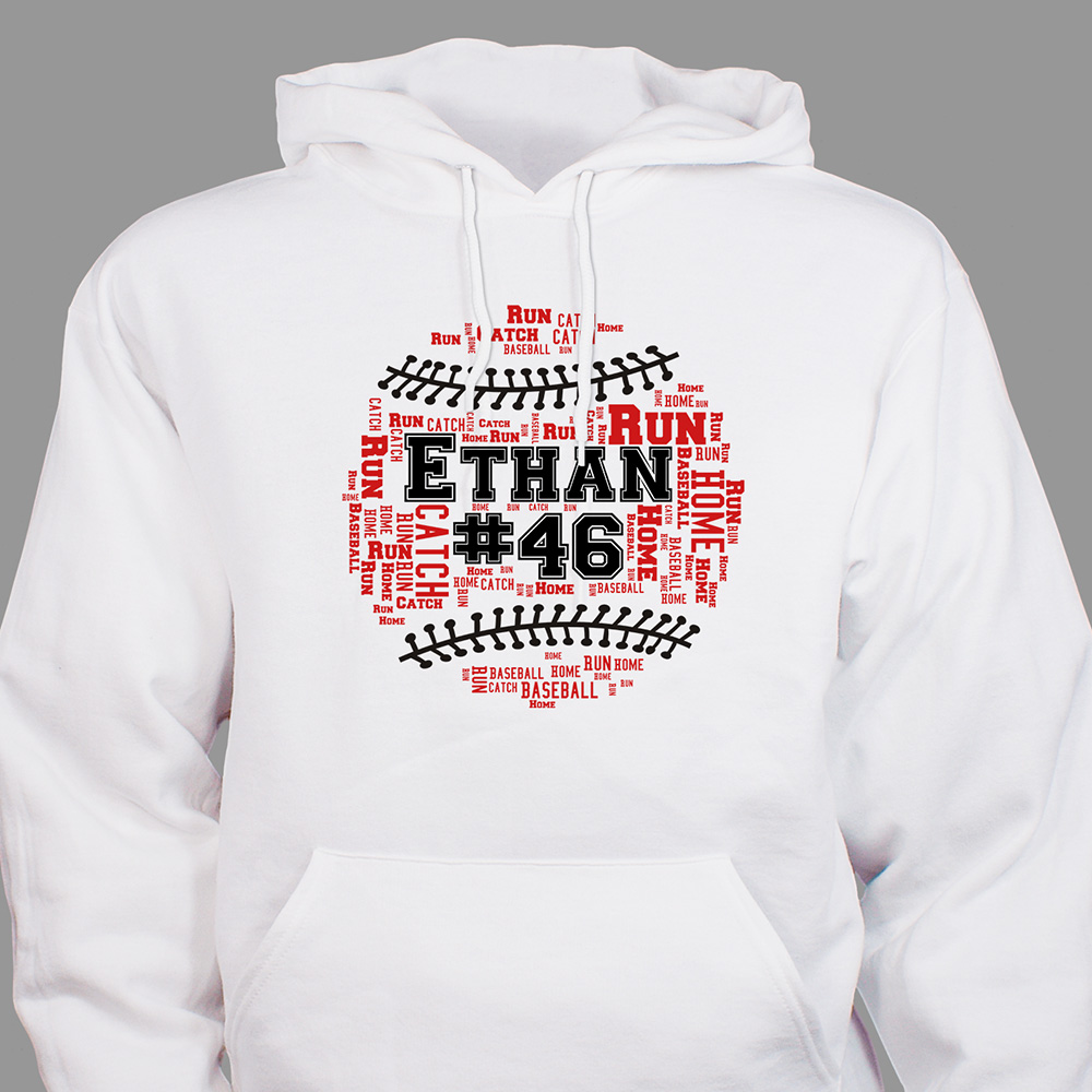 Personalized Baseball Word-Art Hooded Sweatshirt | Personalized Sports Hoodies