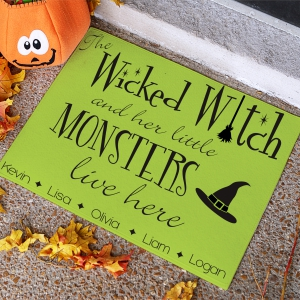 Halloween Witch Personalized Doormat